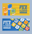 file extension converter set banners vector image