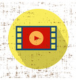film movie strip with play retro icon with vector image vector image