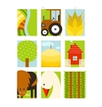 Flat Childish Rectangular Agriculture Farm Set vector image