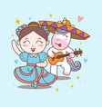 fun girl and unicorn dance mariachi vector image vector image