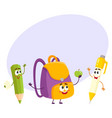 funny smiling pen pencil backpack characters vector image vector image