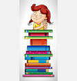 girl and stack of books vector image vector image