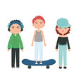 group young people urban style characters vector image vector image