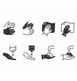 hand wash icons set black vector image