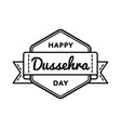 happy dussehra day greeting emblem vector image vector image