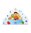 healthy food makes child grow strong and happy vector image vector image