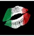 Italian Lipstick kiss on black background vector image