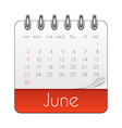 june 2019 calendar leaf template vector image