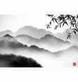 landscape with bamboo and misty forest mountains vector image vector image