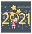Little calf bull symbol new year 2021 merry