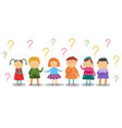 little kids look thoughtfully and stand under lot vector image