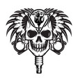 monochrome with stylized human skull vector image vector image