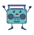 old music player kawaii character vector image
