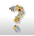 Question mark made up of people with avatars long vector image vector image