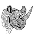 Rhino rhinoceros animal head vector image vector image
