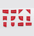 sale stickers labels set red banners ribbons vector image