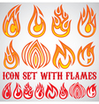 set stylized icons with flames vector image