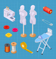 sewing factory isometric set sewing equipments vector image vector image