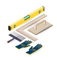 spatula level glove isometric construction vector image vector image