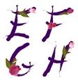 spring alphabet with gentle sakura flowers EFGH vector image vector image