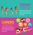 Squat and Cardio exercises banner vector image vector image