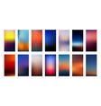 sunset colors gradient backgrounds set vector image vector image