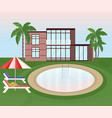 swimming pool background with sunbeds and umbrella vector image vector image