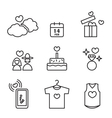 Valentines day Love and Wedding line icons set vector image