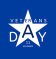veterans day emblem in the form of a blue star vector image vector image
