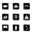 Vietnam icons set grunge style vector image vector image