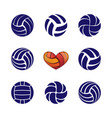 volleyball silhouettes set vector image