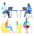 worker man and woman using laptop work vector image vector image