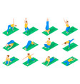 people in yoga poses isometric icons vector image