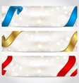 Collection of gift cards with ribbons vector image