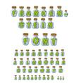 Frankenstein font Green Letters in laboratory jars vector image