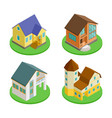 3d isometric living houses of set vector image vector image