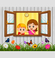 a boy and mother at the window vector image