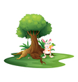 A rabbit with a carrot near the big tree vector image vector image