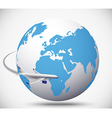 Airliner with globe in the white background vector image vector image