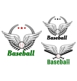 Baseball emblems with angel wings vector image vector image