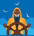 black male fisherman at helm against cloudy sky vector image