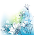 bright floral background in blue and green white vector image vector image