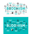 buddhism religion and items icons vector image