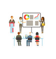businesspeople making presentation and explaining vector image