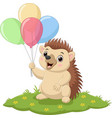 cartoon hedgehog holding colorful balloons in vector image vector image