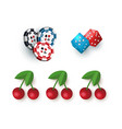casino symbols - jackpot cherry dices and tokens vector image