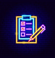 check clipboard neon sign vector image