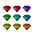 colourful diamond icons vector image