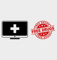 computer medicine icon and scratched free vector image vector image