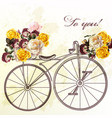 cute invitation with fake bicycle and flowers vector image